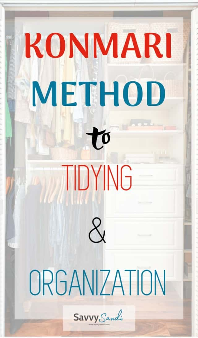 KonMari Method to tidying and organizing clothes in a closet.