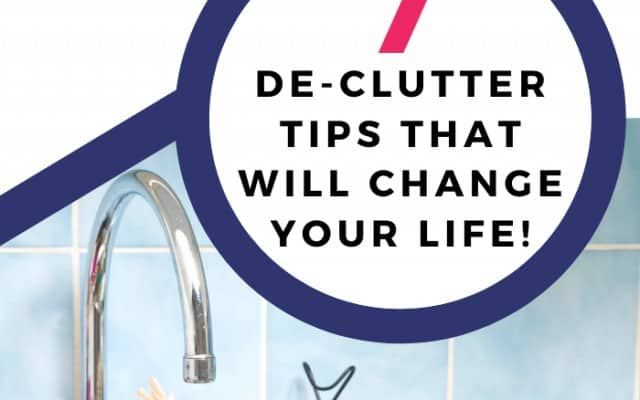 dirty dishes in the kitchen sink to declutter and clean