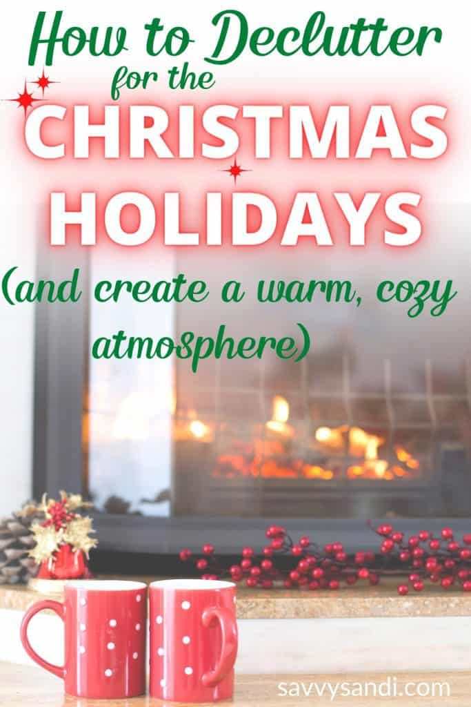 Christms graphic with a warm fire lit and red coffee mugs